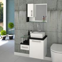 Gabinete para Banheiro com Cuba Quadrada Q32 e Espelheira com Porta Legno 630W Compace Branco/Preto Onix -