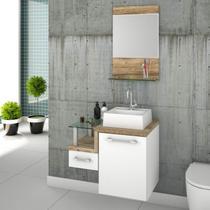 Gabinete para Banheiro com Cuba Quadrada Q32 e Espelheira Legno 631W Compace Branco/Carvalho -