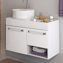 Gabinete para Banheiro com Cuba Redonda Acqua Itatiaia Branco Laca -