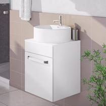 Gabinete para Banheiro com Cuba Redonda Aura Itatiaia Branco Laca -