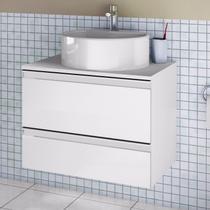 Gabinete para Banheiro com Cuba Redonda Brisa Itatiaia Branco Laca -