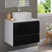 Gabinete para Banheiro com Cuba Redonda Brisa Itatiaia Preto Laca -
