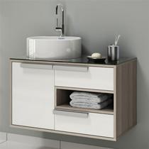 Gabinete para Banheiro com Cuba Redonda Luna Itatiaia Coimbra Bege/Branco -