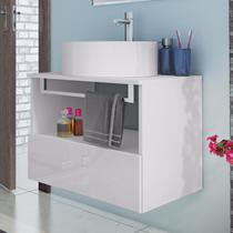 Gabinete para Banheiro com Cuba Redonda Solaris Itatiaia Branco Laca -