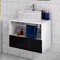 Gabinete para Banheiro com Cuba Redonda Solaris Itatiaia Preto Laca -