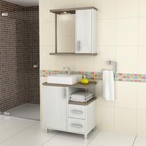 Gabinete para Banheiro com Espelheira Balcony Dallas 65 (Não acompanha torneira) Artico/Linho -