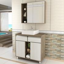 Gabinete para Banheiro com Espelheira Balcony Malbec 80 (Não acompanha torneira) Artico/Merlot -