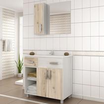Gabinete para Banheiro com Espelheira Balcony Ônix 80 (Não acompanha torneira) Artico/Cabernet -