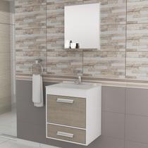 Gabinete para Banheiro com Espelheira Balcony UP (Não acompanha torneira e acessórios) Branco/Linho -