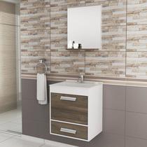 Gabinete para Banheiro com Espelheira Balcony UP (Não acompanha torneira e acessórios) Branco/Merlot -