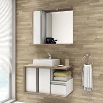 Gabinete para Banheiro com Espelheira Blanc 80 Balcony (Não Acompanha Cuba e Torneira) Artico/Merlot -
