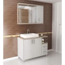 Gabinete para Banheiro com Espelheira Dallas 100 (Não acompanha torneira) Balcony Artico/Linho -