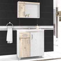 Gabinete para Banheiro com Espelheira Fit 80 Balcony (Não acompanha torneira) Artico/Cabernet -