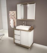 Gabinete para Banheiro com Pes Balcony Baren 80cm artico Merlot -