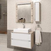 Gabinete para Banheiro com Pés Cuba Sobrepor e Espelheira Balcony Ravena 80 -