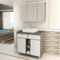 Gabinete para Banheiro com Pés e Cuba Balcony Malbec 80cm Artico -