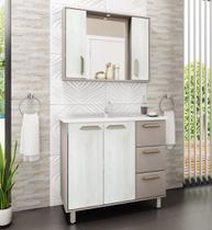 Gabinete para Banheiro com Pés e Cuba Balcony Saara 1mt  Ártico Connect -