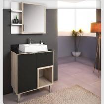 Gabinete para Banheiro com Tampo de Vidro e Nicho Preto e Barrique Lilies Móveis - Móveis São João