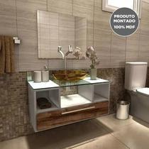 Gabinete Para Banheiro Completo Mdf Balcão Pia Espelho Cuba - Outlet Das Fabricas