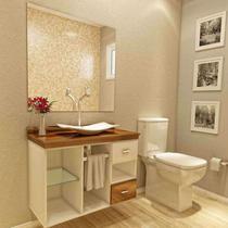 Gabinete para Banheiro Cuba com Espelho San Marino I7 Branco/Nogal - I7 Gabinetes
