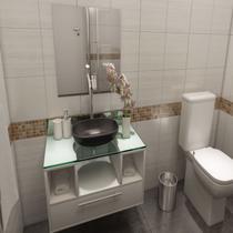 Gabinete para Banheiro Cuba com Espelho Tampo Vidro Bahrein I7 Branco - I7 Gabinetes