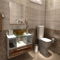 Gabinete para Banheiro Cuba com Espelho Tampo Vidro Bahrein I7 Branco/Nogal - I7 Gabinetes