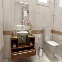 Gabinete para Banheiro Cuba com Espelho Tampo Vidro Bahrein I7 Marrom - I7 Gabinetes