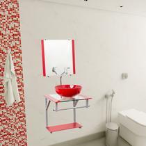 Gabinete Para Banheiro De Vidro Havaí 40 Cm Com Torneira Link - Lopazzi