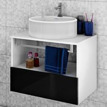 Gabinete para Banheiro Itatiaia Solaris IGBSG1 60 (Não Acompanha Cuba) Preto/Laca -