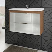 Gabinete Para Banheiro Lavanda 79 Cm Frente Vidro MGM Móveis Amendoa/Branco -