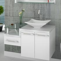 Gabinete para Banheiro Legno 830W Compace Branco/Branco Chess -