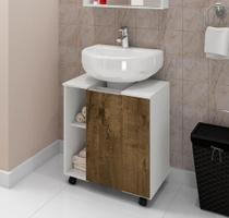 Gabinete para Banheiro Pequin Branco/Madeira Rústica - Bechara