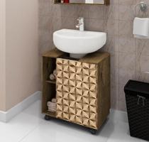 Gabinete para Banheiro Pequin Madeira/Madeira 3D - Bechara