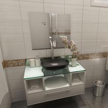 Gabinete Para Banheiro Taiyo Com Espelho E Cuba Branco Premium Gabinetes