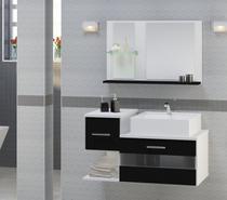 Gabinete Para Banheiro Tróia preto com Cuba e Espelheira - PRETO - 65x40x40 - Atitudelar Acabamentos