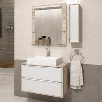 Gabinete Suspenso para Banheiro com Espelheira Ravena 80 Balcony Supremo/Cabernet -