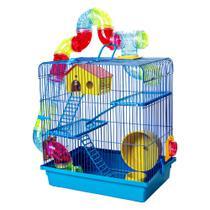 Gaiola para Hamster 3 Andares Jogo De Tubos Super Luxo Azul - Jel Plast