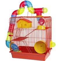 Gaiola para Hamster 3 Andares Jogo De Tubos Super Luxo Vermelha - Jel Plast