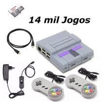 Game Retro com 14 MIL Jogos 32GB com 2 Controles Super Nintendo - Plaza games