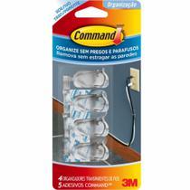 Gancho Command Organizador de Fios Transparente Cartela c/ 4 clips e 5 Adesivos - 3M -