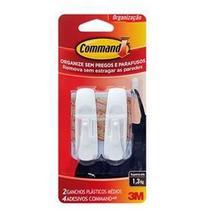 Gancho Command Plástico Tamanho Médio 2 Peças 3M Suporta até 1,3Kg -