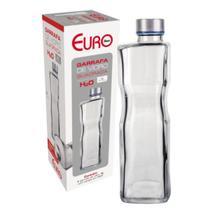 Garrafa De Vidro H2O 1L Quadrada Euro -