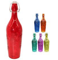 Garrafa de vidro relevo flor transcolor com tampa hermetica / fecho 1l unidade - Wellmix
