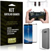 Gatilho Gamer Samsung Galaxy S8 Gatilho + Capa Silicone + Película Vidro - Armyshield -