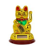 Gato Da Sorte Plástico Dourado Pata Mexe 8.5cm - Tascoinport