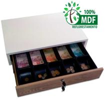 gaveta caixa para dinheiro em MDF branco com frente madeirada - Balcões.Tk