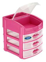 Gaveteiro 3 Gavetas Mais Repartição Rosa/ Pink Mitro - Xplast