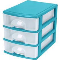 Gaveteiro Mesa 3 Gavetas Azul Transparente Mitro - Xplast