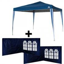 Gazebo Tenda Dobravel Sanfonado Pratiko Azul 3x3m + 4 Paredes em Oxford  Guepardo -