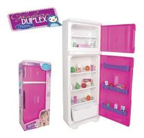 Geladeira Brinquedo Infantil Grande Duplex 65cm + Acessorios - Lua De Cristal
